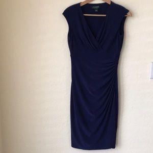 Ralph Lauren deep blue dress.